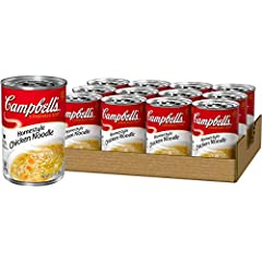 Made with a delicious homestyle blend of seasoned chicken broth, enriched egg noodles and tender chicken meat with no antibiotics Packaged in a non BPA lined, 10.5 ounce recyclable can No artificial flavors, no preservatives Low in fat & cholesterol ...