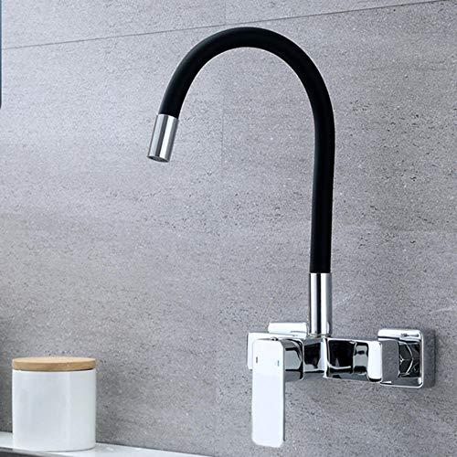 rubinetto cucina a muro Rubinetto da cucina a parete lavello rubinetto dell'acqua calda e fredda universale girevole in ottone-B