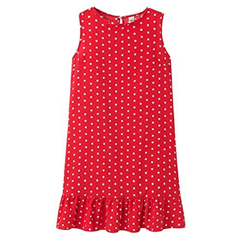 Primavera y Verano Cuello Redondo Vestido sin Mangas Vacaciones de Ocio Falda Suelta de Playa Vestido con Volantes de Lunares Vino Tinto 3XL