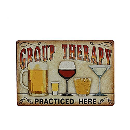 """Tinksky Vintage Metal Tin Sign Wall Plaque Poster""""Group Therapy Practiced Here"""" for Cafe Bar Pub Beer Club Wall Home Decor"""