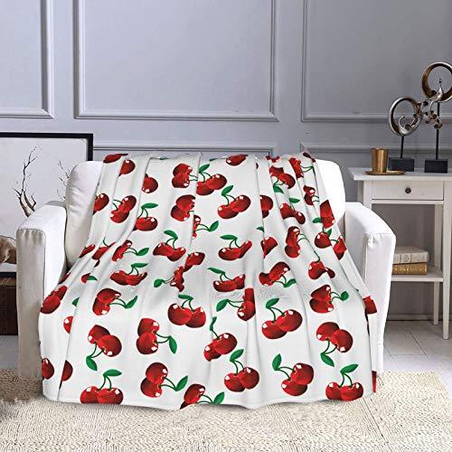 NISENASU Flannel Fleece Blanket Throw,Vibrant Cherries Vitamin Agriculture Exotic Summer Garden Pattern Velvet Plush,Fluffy Blanket Warm Bed Throws Super Soft Luxurious Plush Blankets 150X200CM