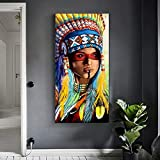 ganlanshu Pintura sin Marco Arte Pluma guerrera Mujer niña Retrato Lienzo Sala de Estar Moderna decoración del hogarZGQ6075 30X60cm