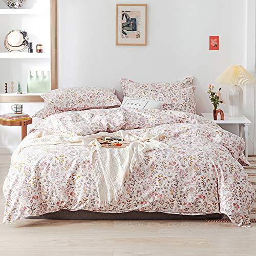 Flower Print Kids Duvet Cover Set Twin Size Pink 100% Cotton Bedding Sets Girl Women 3 Pieces Floral...