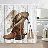 NYMB Western Cowboy Boots Fabric Shower Curtain with Hooks, 3D Digital Printing American Country Farm House Rustic Grey Wooden Barn Door Polyester Bath Curtain, Fabric Bathroom Set Decor, 69X70in