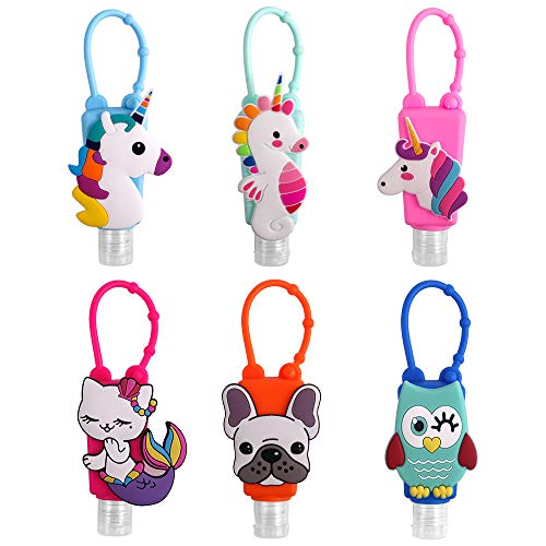 6Pcs Kids Empty Hand Sanitizer Bottles, Travel Size Bottles for Hand Sanitizer with Keychain Holder Carrier, Lotion Perfume Liquid Soap Travel Size Leak Proof Refillable Containers (Pattern 1)