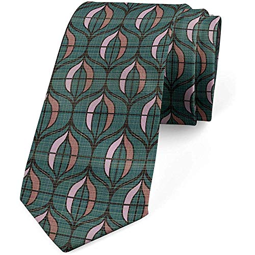 Mathillda Corbata para hombres, formas inspiradas en Art Deco, verde azulado oscuro y regalos multicolores perfectos para corbata de moda