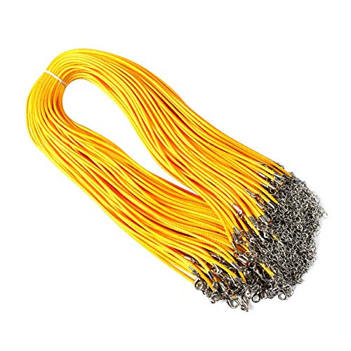 GOUPPER 100 Stks DIY Craft Sieraden maken Ketting Hanger Wax Koord String + Kreeft Gesp Accessoires 17.71inch 1.5mm (khaki)