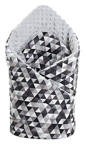 Einschlagdecke Steckkissen Minky 100% Baumwolle 75x75 cm Schlafsack doppelseitiges weich ganzjährig multifunktional antiallergisch Babys Medi Partners (graue Dreiecke mit grauen Minky)