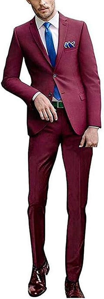 Men's 2 PC Slim Fit Wedding Suits 2 Buttons Peak Lapel Groom Tuxedos Business Men Suits Prom Suits
