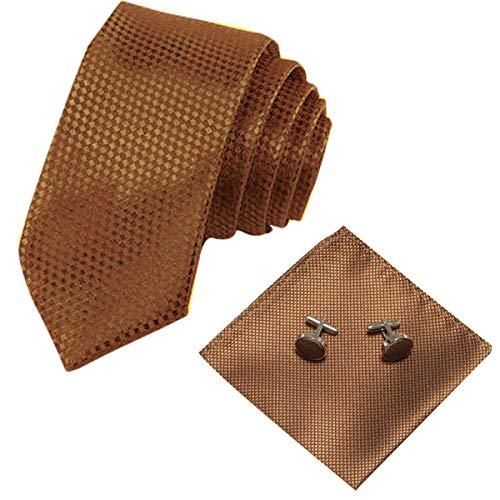 Panegy Herren Krawatten Set mit ManschettenKnöpfe Einstecktuch fröhliche Farben Krawatte einfache Krawatten Business Schlips - Braun