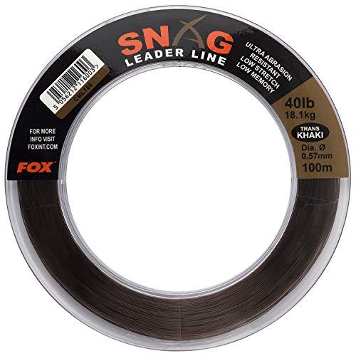FOX Snag Leader Trans Khaki 100m - Schlagschnur zum Karpfenangeln, Snagleader zum Angeln auf Karpfen, Karpfenschnur, Vorfachschnur, Durchmesser/Tragkraft:0.57mm / 40lbs / 18.1kg Tragkraft