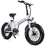 JNWEIYU Bicicleta EléCtrica Plegable Adulto Plegable Bicicleta eléctrica 500w 48v 15Ah 20' * 4.0 Fat Tire Pantalla LCD e-Bicicleta con 5 Niveles de Velocidad (Color : White)