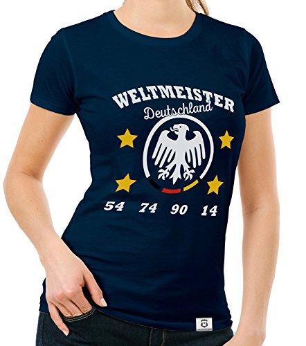 Damen T-Shirt - Weltmeister Deutschland 54 74 90 14 dunkelblau-Weiss XXL