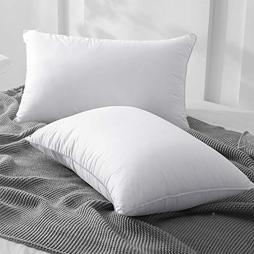 Acrafsman Goose Down Alternative Pillows,Bed Pillows for Sleeping,Hotel Collection,100% Breathable Cotton,2-Pack Pillows,Queen Pillows(20x28inches,White) Set of 2