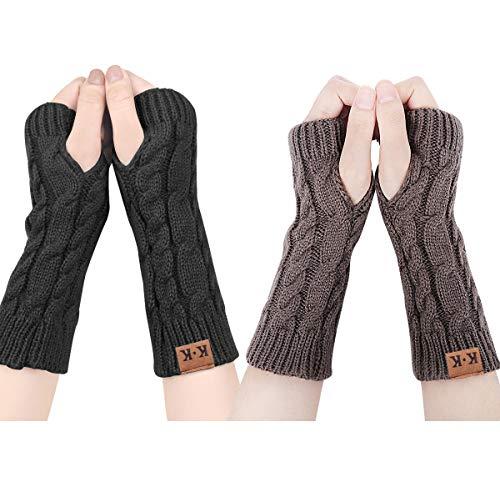 ECOMBOS Damen Fingerlose Handschuhe - Winter Armstulpen Handschuhe Damen Pulswärmer Strick Kurzer Gestrickte Halb Fingerlose Fäustlinge (Schwarz+Dunkelgrau)