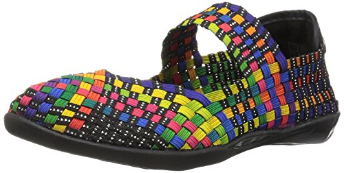 Bernie Mev Women's Cuddly Mary Jane Flat, Black Multi, 36 EU/5.5-6 M US