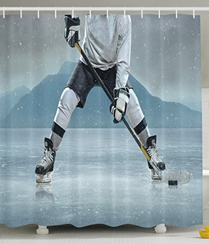 Ambesonne Husband Gifts from Wife Ice Hockey Player on Ice Skating Athletic Activity Frozen Outdoors Equipment Snow Game Winter Team Helmet Rink Man Sports Shower Curtain Gray Denim Blue Black