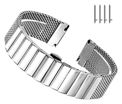Wensong Banda de Reloj de Reloj de Malla de liberación rápida de élite Banda de Reloj de Acero Inoxidable sólido 18 mm 20 mm 22 mm 24 mm Botón de despliegue de Mariposa de Plata Negra for Hombres