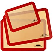 """Last Confection Silicone Baking Mat - Set of 3 Non-Stick Professional Food Safe Tray Pan Liners - 2 Half Sheet (11-5/8"""" x 16-1/2"""") 1 Quarter Sheet (8-1/2"""" x 11-1/2"""")"""