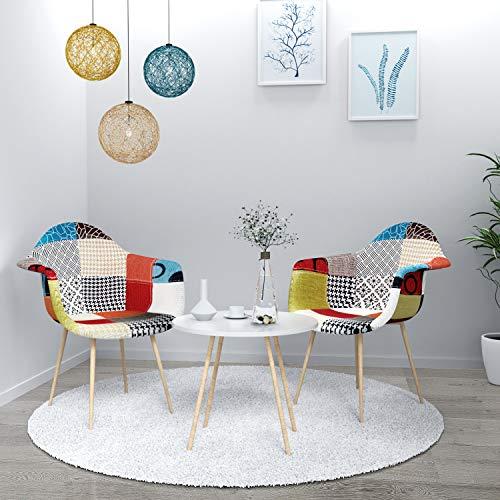 VADIM Esszimmerstühle, 2er Set Küchenstuhl Polsterstuhl Wohnzimmerstuhl Sessel mit Rückenlehne, Retro Design Gepolsterter lStuhl Küchenstuhl Holz