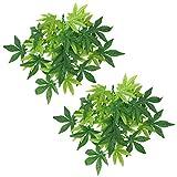 2 plantas de plástico artificiales con ventosa, hojas de decoración de hábitat, plantas para terrario y acuario