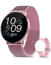 AIMIUVEI Smartwatch voor dames, 3,3 cm (1,3 inch), met hartslagmeter, zuurstofmonitor en slaapcalorieën, bloeddruk, intelligente meldingen, dameshorloge voor iOS en Android