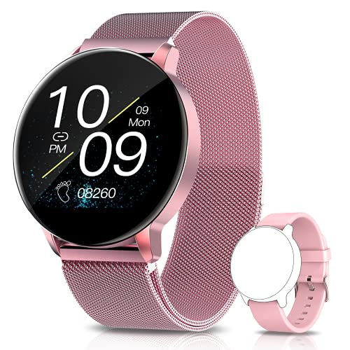 Aimiuvei Smartwatch Damen,1.3-Zoll Smart Watch IP67 Wasserdicht, Fitness Tracker mit Aktivitätstracker Blutdruckmessung, Fitnessuhr Armbanduhr Pulsuhren Schrittzähler Uhr für iOS Android