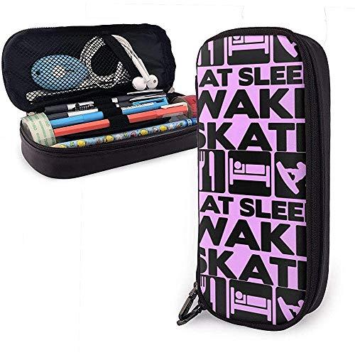 Eat Sleep Wakeskate Multifunktionen-Leinen-Federmäppchen aus Segeltuch Pen Bag Mäppchen Studenten mit Reißverschlüssen