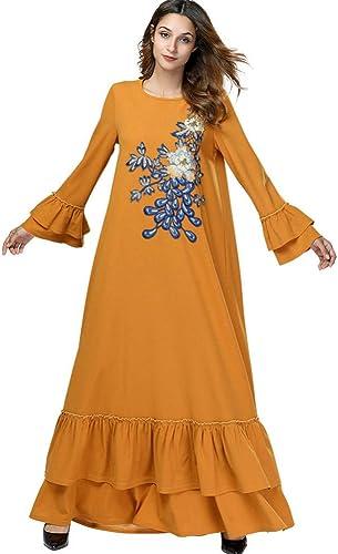 ASGHILL Vestido Vestido de Manga Larga con Estampaño Fino y