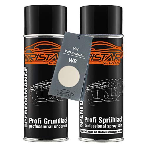 TRISTARcolor Autolack Spraydosen Set für VW/Volkswagen W8 Perlmuttweiss Metallic/Perlmutt Weiss Metallic Grundlack Basislack Sprühdose 400ml