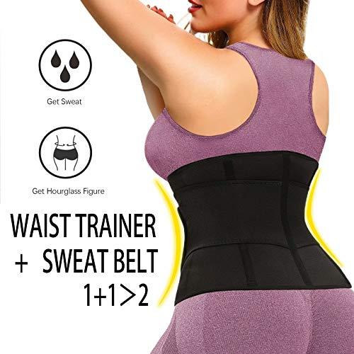 HOPLYNN Neoprene Waist Trainer for Women - Slimming Body Shaper - Waist Trimmer Cincher Belt -Sweat Sports Girdle-Black-M