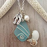Hawaiian and island lifestyle flip-flops charm with Turquoise Bay blue wire wrapped sea glass necklace, freshwater pearl, (Hawaii Gift Wrapped, Customizable Gift Message)