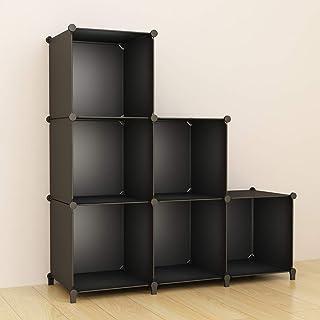 SIMPDIY 本棚 大容量 整理棚 ワイヤー収納ラック 組み立て式 衣類収納ボックス 便利な ワードローブ - 黒(6ボックス)