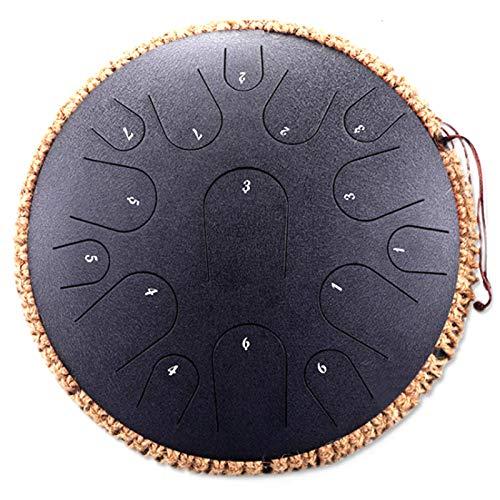 Wsaman Musical De Percusión Relajante, PercusióN Material De Acero Al Carbono 14 Pulgadas 15 Notas Tambor de Lengua de Acero para Meditación Yoga Zazen Musicoterapia Camping,2