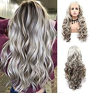 Women's Wigs Auburn Long Curly Wavy Synthetic Wig Highlight Blonde Wig with Baby Hair for American Ladies Free Parting Den...