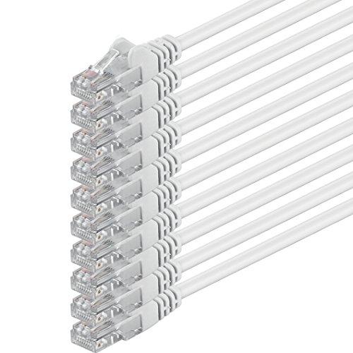 3m - bianco - 10 pezzi - Rete Cavi Cat6 CAT 6 | 250MHz | non contiene alogeni | compatibile con CAT 5e / CAT6a / CAT7 | 10 / 100 / 1000 / 10000 Mbit / s | per switch, router, modem, Patchpannel, Access Point, pannelli di permutazione