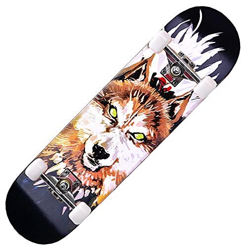 GCJJ-HSY 7º Piso Canadá Maple Longboard Adulto Skateboard Principiante Niño Muchacho Grabado, Downhill, Velocidad (War Wolf)