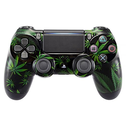 eXtremeRate® Green Weeds Leaves Front Housing Shell Faceplate for Playstation 4 PS4 Slim PS4 Pro Controller JDM-040