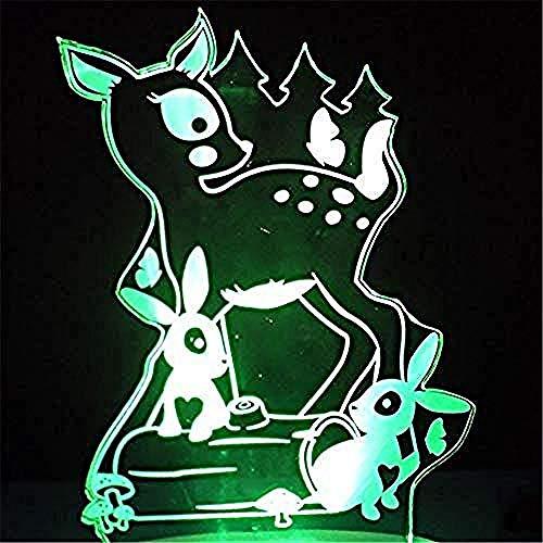 Suwhao nachtlampje voor dieren, klein, hert, gedrukt met 7 kleuren, bureaulamp, visief huisdecor, LED, nachtkastje, USB-lamp voor karton, dieren