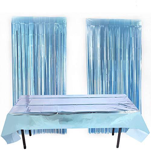 NIWWIN 2 Paquetes de Papel de Aluminio metálico Brillante Mantel desechable de plástico Rectangular de oropel metálico para decoración de Bodas y Fiestas de cumpleaños (Azul)