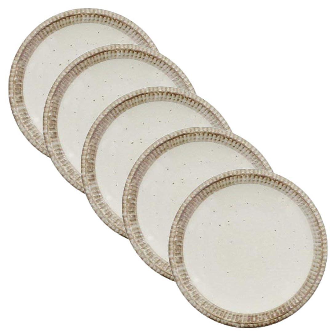 昨日無一文殺人者テーブルウェアイースト 4寸皿 <渕錆粉引> 5枚セット 食器セット プレートセット 小皿セット