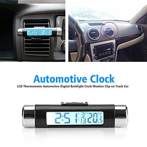 3 in 1thermometer,Fahrzeug Innenthermometer Automotive Digitaluhr Monitor Clip-on für Lkw Auto Air Vent LCD Hintergrundbeleuchtung (Nicht enthalten die batterie)(Blaue Hintergrundbeleuchtung)