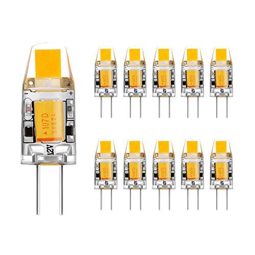 AHEVO G4 COB LED Leuchtmittel, AC/DC 12V, 2W, 120-140LM, Warmweiß, Entspricht 15W Halogen Lampen Ersatz, nicht dimmbar,Kristall Strahler Leuchtmittel (Stück 10,3000K)