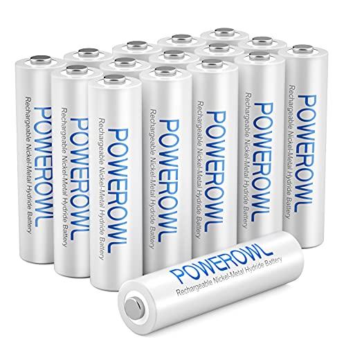 Akku AAA POWEROWL AAA Akku NI-MH 16 Stück AAA Batterien Wiederaufladbare 1.2v Migon Aufladbare Batterien AAA Akkubatterien (Geringe Selbstentladung,1000mAh)