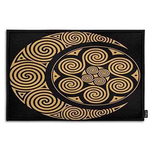 Mugod Indoor/Outdoor Doormat Spiral Celtic Moon and Celtic Sun Isolated on Black Funny Doormats Bathroom Kitchen Decor Area Rug Non Slip Entrance Door Floor Mats, 18' X 30'