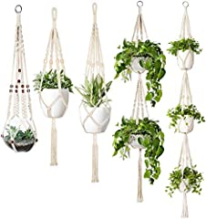 Show your plants some love with this modern, vintage-inspired macrame plant hanger. Simple, yet meticulously hand-crafted, these plant holders would display all your cute pots and plants and enable you to create the space you love Material: Cotton, w...