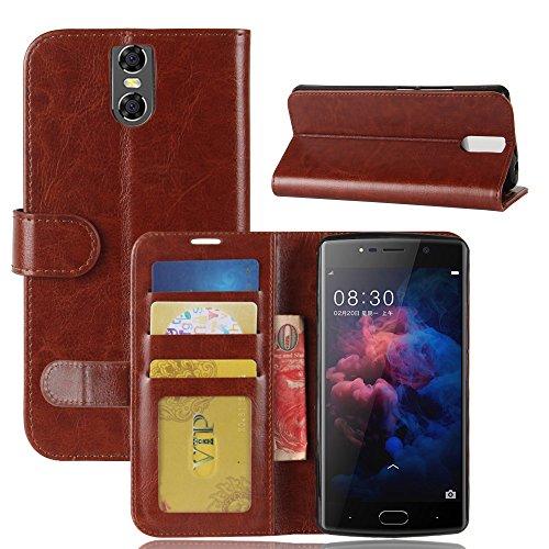 DOOGEE BL7000 Brieftasche Hülle, GOGMEE Senior PU-Leder Brieftasche Telefon-Kasten mit Einschubfächer für Karten, Magnetische Verschluss, Flip Bracket Funktion, Braun