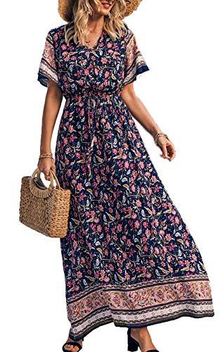 PRETTYGARDEN Women's Casual Floral Print V Neck Short Sleeve Summer Boho Beach Dress High Waist Long Maxi Dresses Navy
