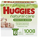 Baby Wipes, Huggies Natural Care Sensitive, UNSCENTED, Hypoallergenic, 6 Refill Packs, 1008 Count