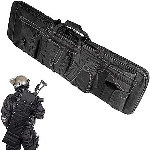 LONGJIQ Bolsa de transporte tática para equipamento de caça com alça de ombro para proteger um rifle durante o transporte - 120 cm/47,2 pol. _ Preto fantástico